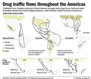 Drug traffic flows throughout the world
