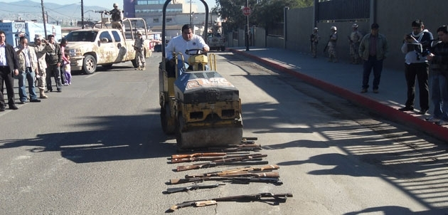 Destruction of collected guns in Baja