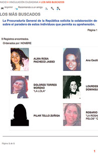 Arrested one woman from the Nine most wanted in Mexico